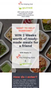The Helping Hub – Win 2 Weeks Worth of Ready Made Meals for a Friend