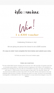 The Isle of Mine – Win a $300 Voucher (prize valued at $300)