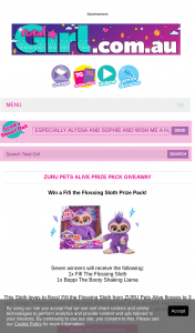 Total Girl – Win a Fifi The Flossing Sloth Prize Pack (prize valued at $490)