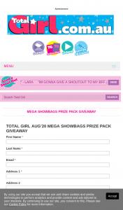 Total Girl – Win Aug'20 Mega Showbags Prize Pack Giveaway  (prize valued at $406)