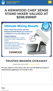 Trusted Brands – Readers Digest – Win a Kenwood Chef Sense Stand Mixer Valued at $598.99RRP (prize valued at $598)