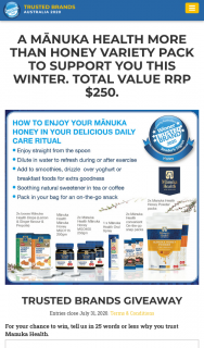 Trusted Brands – Readers Digest – Win a Manuka Health Variety Pack (prize valued at $250)