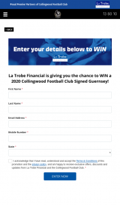 Win a 2020 Collingwood Signed Guernsey La Trobe Financial 5pm (prize valued at $1,000)