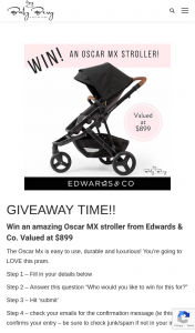 Win an Amazing Oscar Mx Stroller From Edwards & Co Valued at $899 (prize valued at $899)