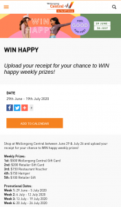 Wollongong Central Shopping Centre – Win a Maximum of One (1) Prize Per Weekly Draw