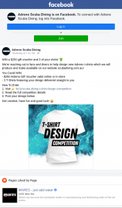 Adreno Scuba Diving – Win a $250 Gift Voucher and 3 of Your Shirts