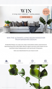 Bandhini Design – Win The Ultimate Living Room Makeover From Bandhini Design (prize valued at $1,500)