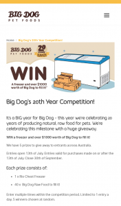 Big Dog Pet Foods – Win a Freezer and Over $1000 Worth of Big Dog to Fill It (prize valued at $9,950)