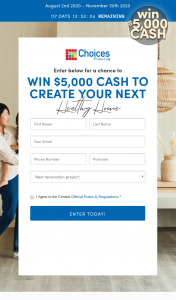 Choices Flooring – Competition (prize valued at $5,000)