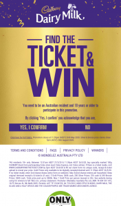 Coles Buy block special marked Cadbury blocks find winning tickets gold ticket is now CASH & instant cash – Win 1000 Find a Bronze Ticket Win 500. (prize valued at $60,000)