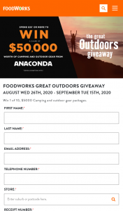 Foodworks Great Outdoors Giveaway – Win 1 of 10 $5000 Camping and Outdoor Gear Packages (prize valued at $5,000)