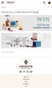 Haigh's Chocolate – Win a Delicious London Road Gift Range Chocolate Package (prize valued at $200)