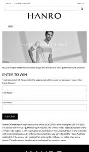 Hanro – Win a $200 Hanro Gift Voucher (prize valued at $200)