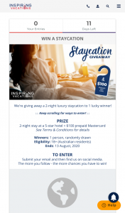 Inspiring Vacations – Win a Two Night Stay In a 5☆ Hotel (prize valued at $400)