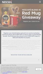 Nescafe – Win 2 Nescafé Mugs & 2 Nescafé Blend 43 Samples (prize valued at $500)