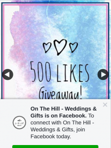 On The Hill Weddings & Gifts – Win One of Two Prizes (prize valued at $100)