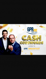6PR Cash Codewords – Win $1000 Cash (prize valued at $15,000)