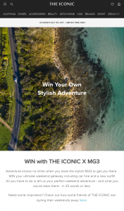 The Iconic – Win Your Ultimate Weekend Getaway Including Car Hire and a New Outfit (prize valued at $250)