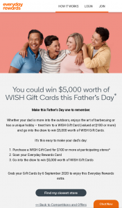 Woolworths Everyday Rewards – Win $5000 Worth of Wish Gift Cards this Father's Day (prize valued at $100)