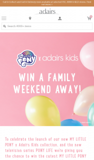 Adairs My Little Pony – Win a Family Weekend Away (prize valued at $5,850)