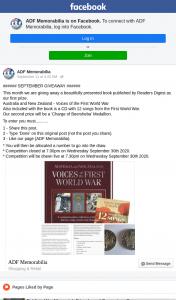 ADF Memorabilia – Win 1st Prize Book (prize valued at $32)