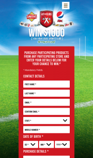Asahi & Smith's Snackfood -Purchase participating product/s to – Win 1 of 50 Kit's for Your Local Sporting Club (prize valued at $50,000)