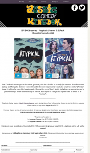 Aussie Comedy Kingdom – Win The First Two Seasons of The Coming-Of-Age Series Atypical on DVD