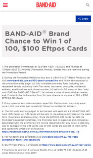 Band-Aid – Win 1 of 100 $100 Eftpos Cards (prize valued at $10,000)