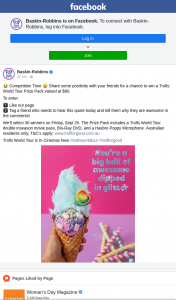 Baskin-Robbins – Win a Trolls (prize valued at $80)