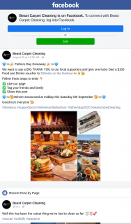 Beast Carpet Cleaning – Win $100 Food & Drinks Voucher 3 Sheets on The Harbour