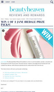 Beauty Heaven – Win 1 of 2 Jane Iredale Prize Packs