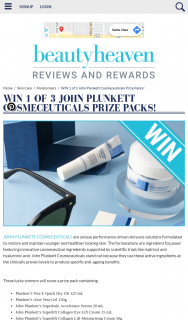 Beauty Heaven – Win 1 of 3 John Plunkett Cosmeceuticals Prize Packs