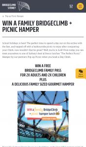 BRIDGECLIMB – Win a Family Bridgeclimb Picnic Hamper [closes 500pm] (prize valued at $870)