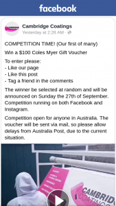 Cambridge Coatings – Win a $100 Coles Myer Gift Voucher (prize valued at $100)