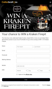 Cellarbrations-IGA Liquor/Bottle-O – Win a Kraken Branded Firepit/bbq/cooler Valued at $355. (prize valued at $355)