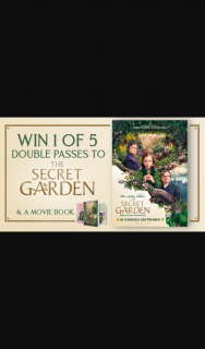 Channel 7 – Sunrise – Win One of Five Double Passes to See The Secret Garden and a Movie Book In this Week's Sunrise Family Newsletter
