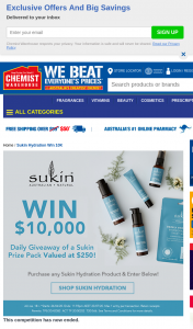 Chemist Warehouse – Sukin – Win $10000 Or 1 of 5 Good Hair Day Packs