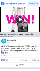 Cocobella – Win a Vitamix Ascent Series A2300i From Raw Blend and Three Month's $300 Supply of Your Fave Cocobella Products (prize valued at $1,245)