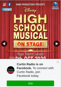 "Curtin Radio – Win – this Week a Family Pass to Disney's ""high School Musical"" Is Up for Grabs……"