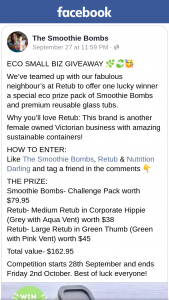 Eco Small Biz Giveaways – Win The Smoothie Bomb (prize valued at $163)