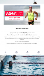 Engine Swim – Win a $1000 Engine Voucher (prize valued at $1,000)