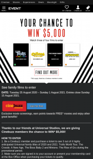 Event Cinemas Cinebuzz – Win $5000 Purchase Tickets to See Three Out of Four Films