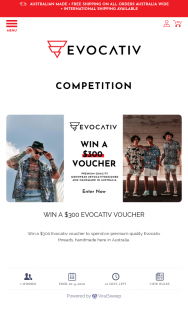 Evocative – Win a $300 Evocativ Voucher to Spend on Premium Quality Evocativ Threads (prize valued at $500)