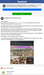Fairfield Gardens Shopping Centre – Win The $50 Presents of Mind Voucher Simply Tell Us In The Comments Below What Is Your Favourite Board Game (prize valued at $50)