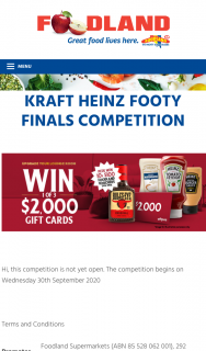 Foodland-Heinz – Win a Minor Prize (prize valued at $10,000)