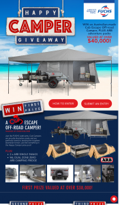 Fuchs – Win Cub Escape Camper Plus 2 X Arb Swags and a 96l Dual Zone Arb Fridge Valued at $38187.00 (prize valued at $38,187)