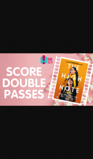 Hit 92.9 – Win Gold Class Double Passes The High Note Wed 23rd Sept 6pm
