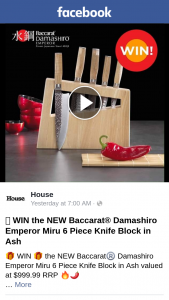 House – Win The New Baccarat Damashiro Emperor Miru 6 Piece Knife Block In Ash Valued at $999.99 RRP (prize valued at $999.99)