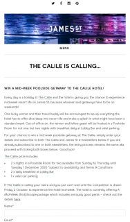 James St – Win a Poolside Getaway at The Calile Hotel