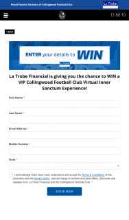 Latrobe Financial – Win a VIP Collingwood FooTBall Club Virtual Inner Sanctum Experience (prize valued at $5,000)
